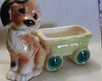 1950's Royal Copley Cockerspaniel Dog Planter with Flyer Wagon.  Signed Royal Copely Dog Planter. Royal Copley USA Pottery.