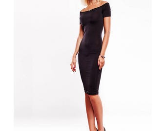 Off Shoulder Bodycon Dress, Little Black Dress, Open Shoulder Dress, Pencil Dress StudioDress1