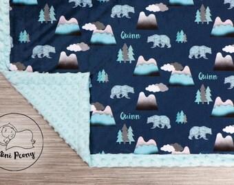 PERSONALIZED baby minky blanket, child blanket, neutral gender blanket, Mountain blanket, woodland bear cuddle blanket, baby shower gift