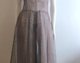 Vintage Dress / Tulle / Sheer / Prom / S-M