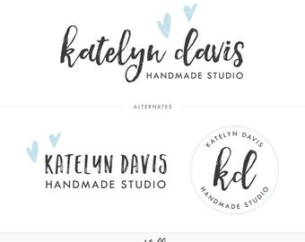 Logo Kit, Premade Logo, Heart Logo, Logo Design, Branding Package, Logo Package, Watermark, Initials Logo