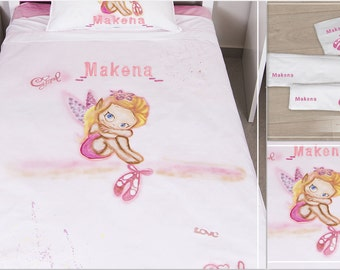 Fairy bedding set, hand painted girls bedding set, custom bedding, personalized bedding gift, nursery bedding, fairy bedroom, birthday gift