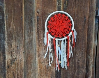 "10"" Red doily dream catcher / White boho wall hanging/ Valentines day present"
