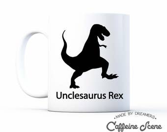 Gift for Uncle Unclesaurus Rex Funny Mug From Niece Nephew pregnancy Announcement Baby Shower Gift Idea Favor Party Grandparents Reveal