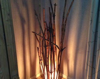 Floor lamp from forest wood