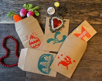 Rustic Christmas Hand-printed Gift Envelopes -  Set of Four