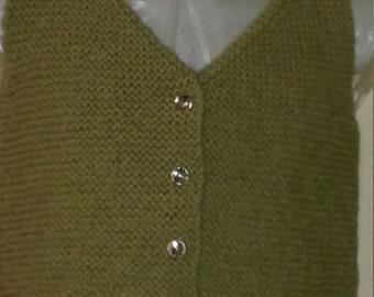 Hand Knit Child V-neck Green Sweater Vest, size 4T
