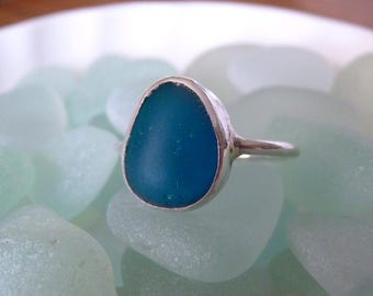 Teal Blue Sea Glass Ring - Genuine English Seaglass & Sterling Silver - Size 7-1/2 - BERING SEA