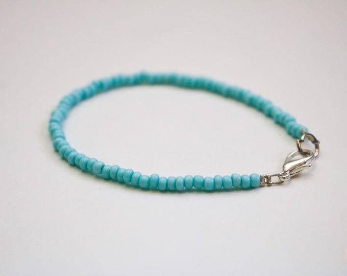 Turquoise Mint Skinny Beaded Bracelet.