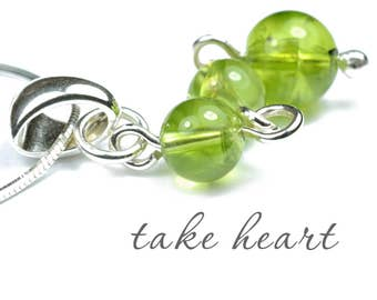 Peridot Heart Chakra Necklace, Meditation Pendant, and Yoga Gift  in Gemstones & Sterling Silver or 14k Gold Filled