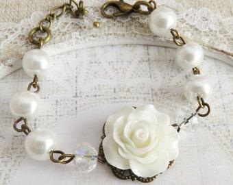 White flower bracelet, pearl bracelet, flower girl jewelry, junior bridesmaid bracelet, kids jewelry, wedding jewelry, brass and bronze