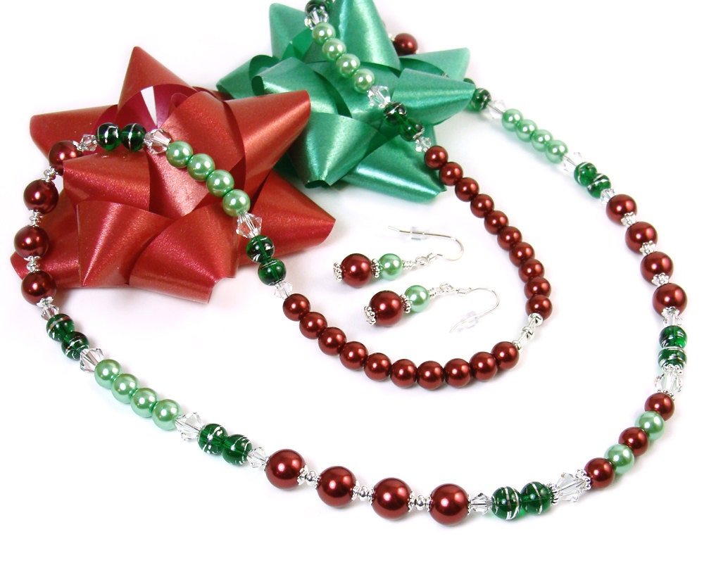 Christmas Jewelry Set Holiday Red Green Necklace Earrings