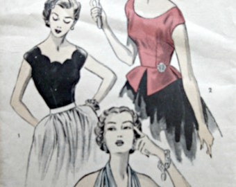 Vintage Advance 6085 Sewing Pattern, 1950s Blouse Pattern, Halter Top Pattern, Bust 32, 1950s Sewing Pattern, Scalloped Neckline Blouse