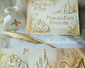 Once Upon a time wedding guest book, personalized Once Upon  guest book, fairy tale castle wedding guest book, Princess carriage guest book