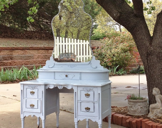 BLUE PAINTED VANITY - Antique Makeup Vanity - Shipping Included - or Free Pick Up In San Francisco Shabby Chic Furniture-