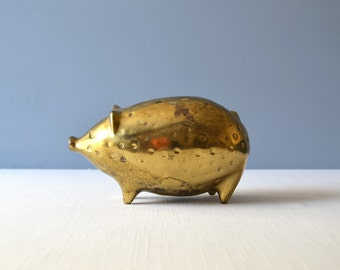 Vintage Ben Seibel Brass Piggy Bank for Jenfred-Ware