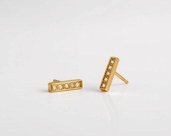 Diamonds Studs Earrings | Tiny Diamonds Line Earrings, Staple Earrings, 18k Gold Bar Earring, Dainty Diamonds Bar Earring