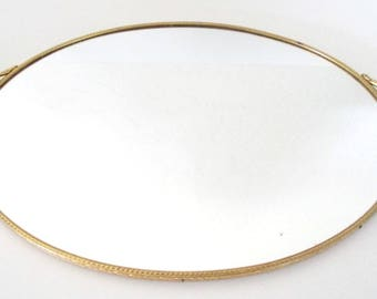 Mid Century Gold Plated Mirrored Vanity Tray