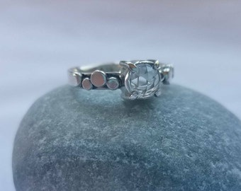 Claire, Rose Cut Clear Quartz and Argentium Sterling Ring, OOAK, Wearable Art, size 6.5
