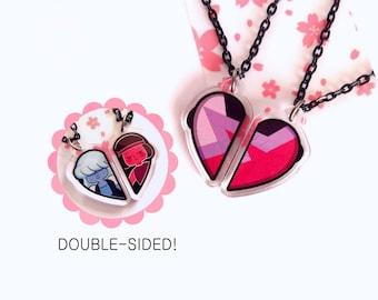 Garnet/ Sapphire & Ruby BFF Necklace Set