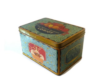 Vintage Adverting Tin Box Loriot Candy Tin Box 1950s Lithographed Tin Box Kitchen Decor Collectibles Tin