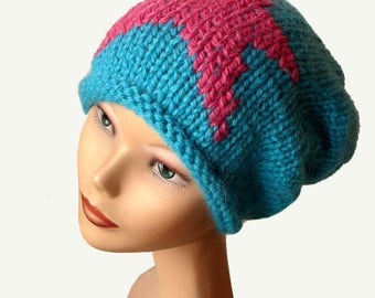 Women's Beanie Hat / Slouch Beanie / Womens Knit Hat / Turquoise Knit Hat / Natural Fiber / Slouchy Beanie Hat / Turquoise Beanie