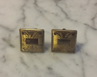 1960s Cuff Links - Etched Cuff Links - Gifts for Men