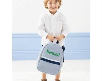 Monogrammed Seersucker Backpack | Preppy Personalized Toddler Preschool Backpack