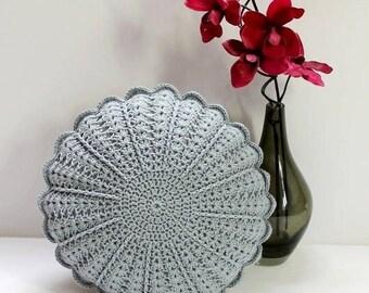 Crochet Cushion/Crochet Pillow/Round Cushion/Round Pillow/Crochet/Cushion/Round Crochet Pillow/Gray/Grey Pillow/Flower Cushion/Vintage style