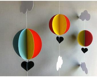 3 Hot Air Balloon Garland - Balloon Garland - Baby Shower Decoration - Up Up and Away - Baby Shower - Hot Air Balloon Decor - Nursery