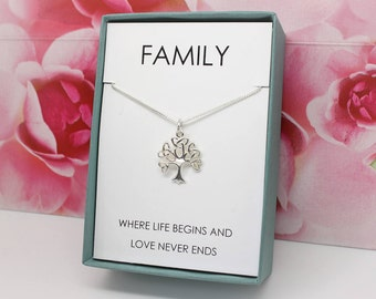 Family tree necklace, Tree of life necklace Gift for mom, Gift for grandma, 925 Sterling Silver, infinity Celtic tree, Gift for wife