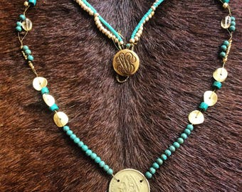 Vintage gold coin & Turquoise necklace