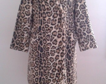 Vintage 1960's Safari by Sportowne High Quality Faux Leopard Fur Coat Double Breasted Sz Med Mod Edie Sedgwick