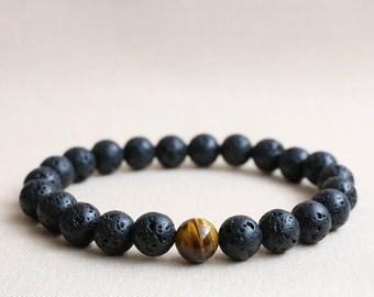 Lava Bracelet, Lava Stone Bracelet, Lava Rock Bracelet, Mens Beaded Bracelet, Tiger Eye Bracelet, Mens Stretch Bracelet