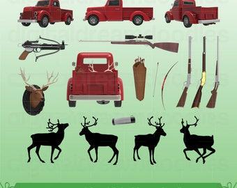 Hunting Clipart, Hunter Clip Art, Deer Hunt Clipart, Shooting Rifle PNG, Bulls Eye Image, Buck Season Scrapbook, Huntsman Digital Download