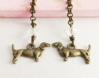 Dachshund earrings, long dangle earrings, dog jewelry, dachshund jewelry, gift for her, dogs, bronze jewelry