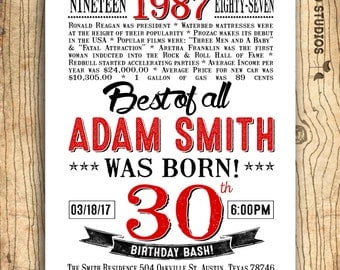 30th birthday invitation- Surprise 30th birthday party invitation - 30th birthday for him - invitation for men - In the year 1987 - 30 years