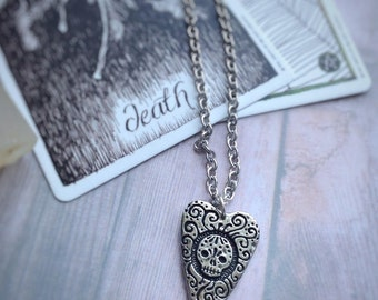 Sugar Skull Love Never Dies double sided planchette necklace,