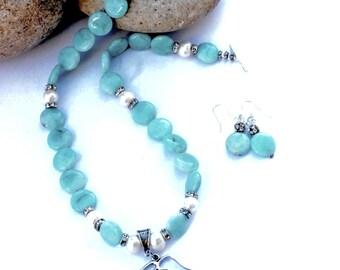 Amazonite jewelry - Amazonite necklace - Amazonite strand necklace - aqua blue necklace - natural stone necklace - free shipping, gemstone