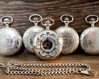 Pocket Watch Set of 3 Personalized Silver with Watch Chains Groomsmen Gift Idea Wedding Party Gift Groom Best Man Ships to US/Canada SLMX