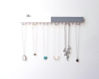 Jewelry Organizer Wall - Modern Wall Decor - Jewelry Display - Minimalist Decor - Jewelry Storage - Grey - White - Necklace Holder