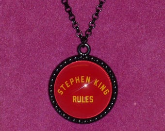 The Monster Squad / Stephen King Rules Inspired Black Cameo Necklace