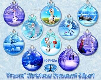 10 FROZEN Clipart Ornaments, Olaf Christmas Ornament Clipart, Frozen Party, Christmas Ornaments, Digital Snow Globe Designs, Olaf Ornaments