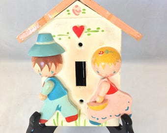Vintage Nursery Light Switch Plate/Cover,  1950s IRMI Light Switch Plate for Nursery