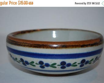 ON SALE Mexican Pottery Vintage Pottery Bowl Trinket Made in Mexico, Mexican Pottery Bowl, Blue and Brown