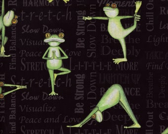 BTY YOGA FROGS on Black Print 100% Cotton Quilt Crafting Fabric by the Yard