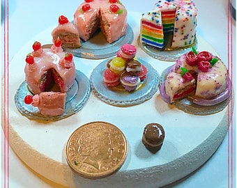 Polymer clay miniature celebration cake 1:12 scale