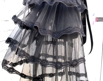 Black tulle bustle skirt Gothic Victorian Burlesque Steampunk tutu Whitby Party outfit embroidered lace available in black white or ivory