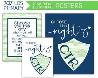 Yearly Theme Poster - LDS Primary 2017 Theme PRINTABLE Choose the Right Wall Art Sign Sharing Time Sunday School Bulletin Board Decor P008