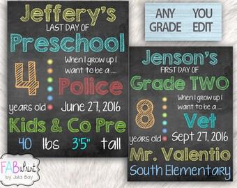 1st Day of School Signs, Editable, Reusable, Printable, Last Day of School Chalkboards,  Kindergarten Graduate Signs, School Posters 8.5x11